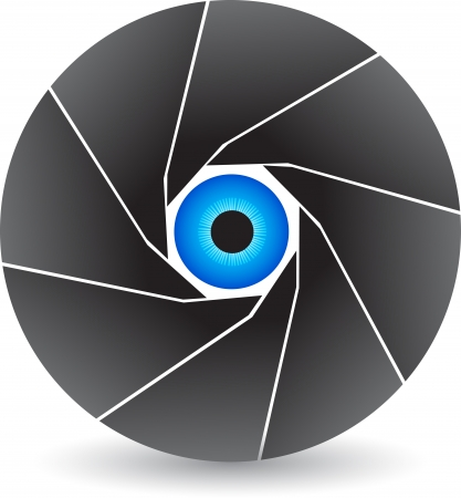 shutter: Illustration art of a eye shutter logo with isolated background Illustration