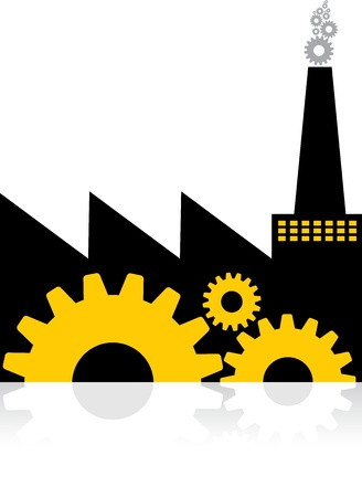 Illustration art of factory with isolated background Vector
