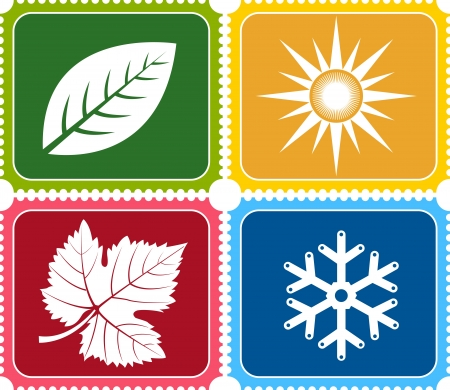 Illustration art of a four weather with isolated background Vector