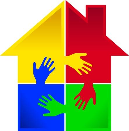 haushaltshilfe: Illustration Kunst eines Puzzles Hand Hause mit isolierten Hintergrund