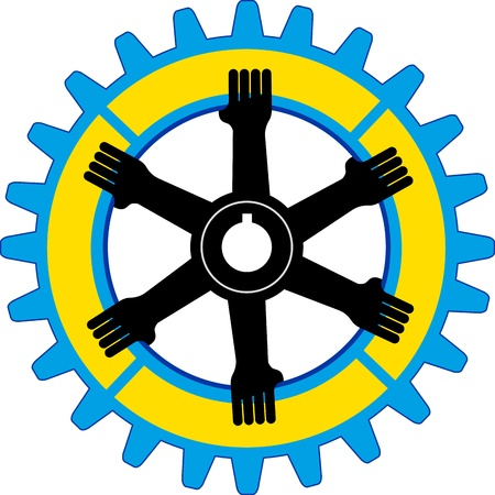 industrial icon: Illustration art of a gear hands with isolated background