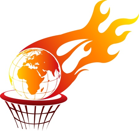 basket ball: Illustration art of a Flaming fire globe with isolated background