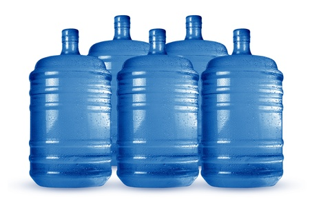 liter: Blue big bottle fill cooling water cans with white background