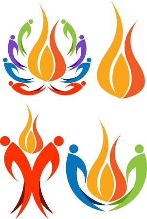 children circle: Illustration art of a colourful human flame with isolated background
