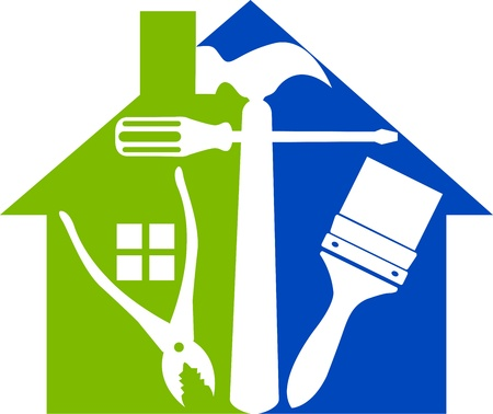 loodgieterswerk: Illustratie kunst van een huis gereedschappen met geïsoleerde achtergrond