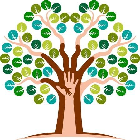 corporativo: Arte de la ilustración de un árbol de la mano con el fondo aislado