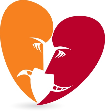 Illustration art of a heart face with isolated background Vector