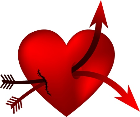 pierced: Illustration art of a heart and double arrow with isolated background