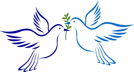 paloma de la paz: Ilustraci�n de arte de una paloma con fondo aislado
