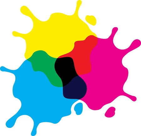 digital paint: Illustration art of a ink splash with isolated background