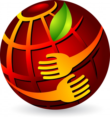 hands holding globe: Illustration art of a hands holding globe with isolated background  Illustration