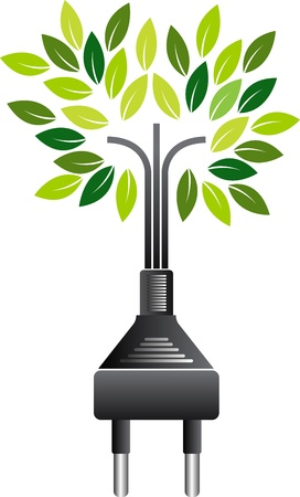 Illustration art of a electrical plug green tree with isolated background  Stock Vector - 21423926
