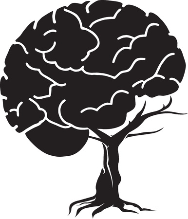 brain stem: Illustration art of a brain tree with isolated background