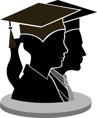 successful student: Arte di illustrazione di una coppia di laurea con sfondo isolato