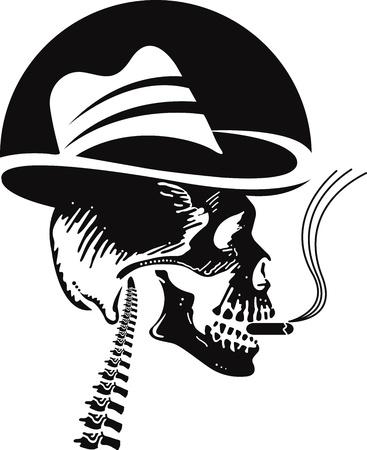 cancer de pulmon: Arte de la ilustraci�n de un cr�neo que fuma con fondo blanco
