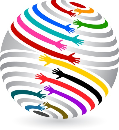 child care: Illustration art of a globe hands with isolated background