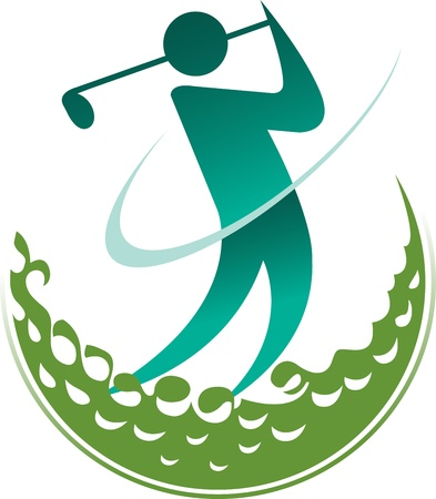 Illustration art of a golfer with isolated background Vector