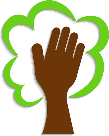 hand logo: Illustration art of a hand tree logo with isolated background Illustration