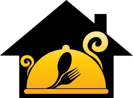 hausmannskost: Illustration Kunst eines Traumhauses Kochen mit isolierten Hintergrund