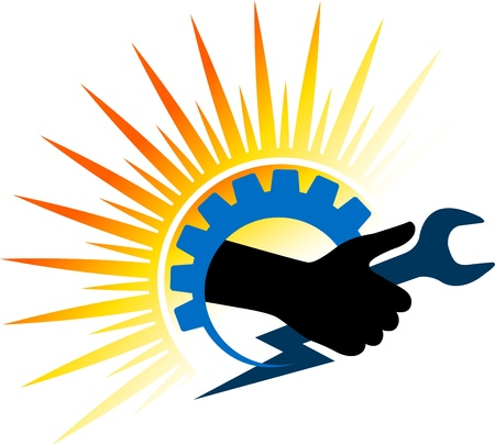 llave de sol: Arte de la ilustración de una herramienta de mano el poder con el fondo aislado