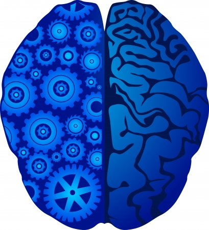thinker: Illustration art of a mind gear with isolated background