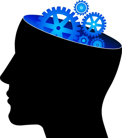 mental work: Illustration art of a mind gear with isolated background