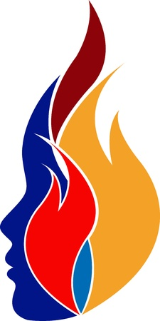 Illustration art of a colourful flame face with isolated background