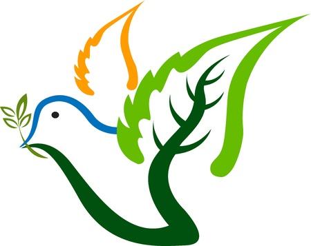 bird logo: Illustration art of a leaf bird logo with isolated background Illustration
