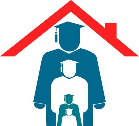 apoyo familiar: Arte de la ilustraci�n de una educaci�n en casa con fondo aislado Vectores