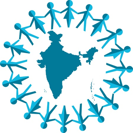 Illustration art of a abstract people around india map with isolated background Vector
