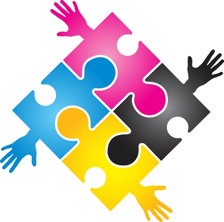 four color printing: Illustration art of a CMYK puzzle hand with isolated background Illustration
