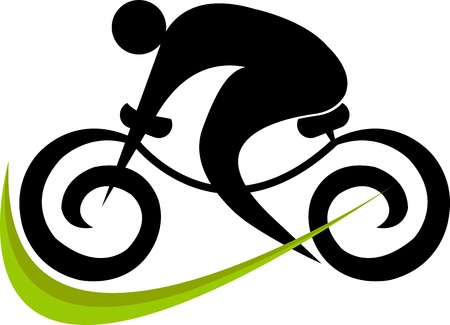Illustration art of a cycling with isolated background Stock Illustratie