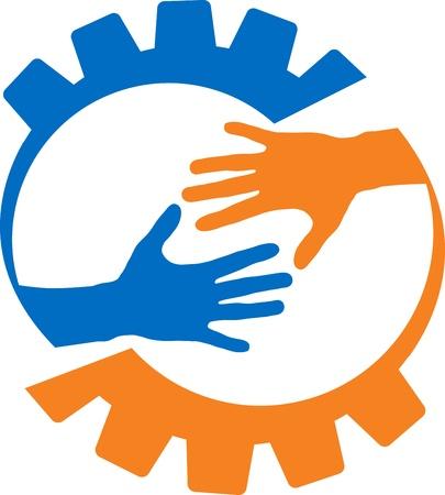 mani che si stringono: Arte di illustrazione di una fabbrica di aiutare a mano con sfondo isolato