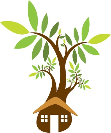 Illustration art of a home tree with isolated background