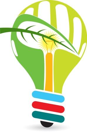 ahorro energia: Arte de la ilustración de una lámpara de energía verde con fondo
