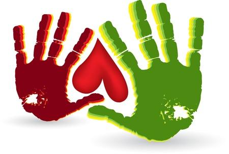 Illustratie kunst van een twee hand hart logo met een witte achtergrond