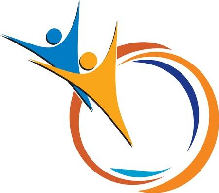 empresas: Arte de la ilustración de una pareja logo mosca con el fondo aislado Vectores