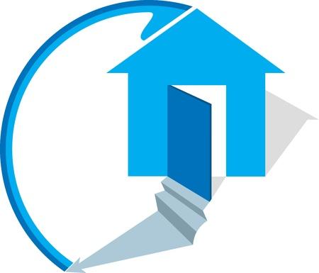 logo casa: Illustrazione arte di un logo di casa con sfondo isolato