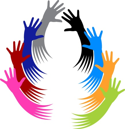 caring hands: Illustration art of a volunteer hands with white background