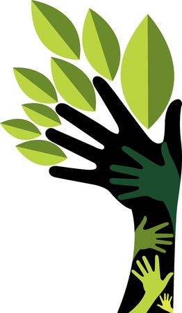 Illustration art of a hand tree with isolated background