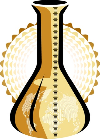 Illustration art of a world erlenmeyer with isolated background Vector