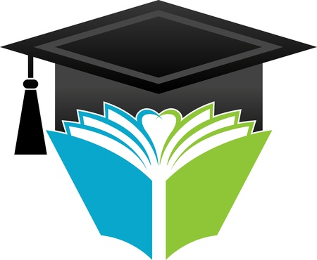 doctorate: Illustration art of a book graduation cap with isolated background