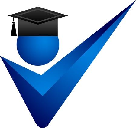 alumnus: Illustration art of a right graduation with isolated background Illustration