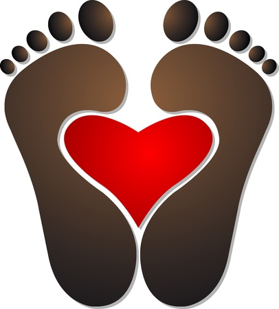 human toe: Illustration art of a heart footprint with isolated background