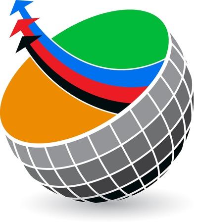 globe arrow: Illustration art of a globe arrow with isolated background