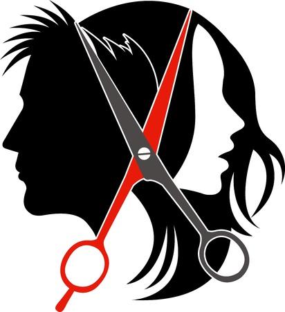 taglio capelli: Illustrazione arte del concetto di salone su sfondo isolato
