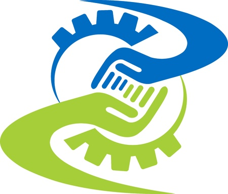 gears concept: illustration art of a factory friend logo with isolated background Illustration
