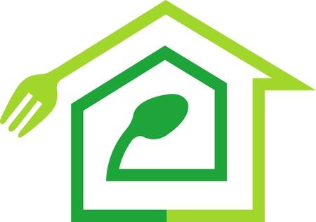 hausmannskost: Illustration Kunst eines Traumhauses Kochen Logo mit isolierten Hintergrund