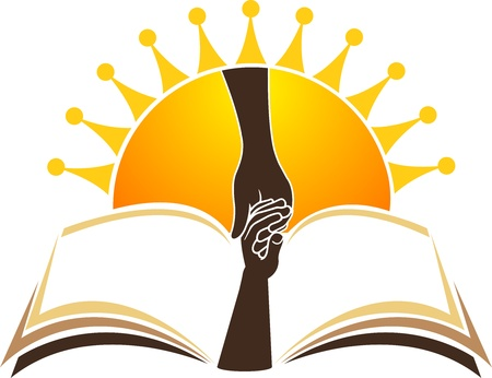 onderwijs: Illustratie kunst van het heldere onderwijs logo met geïsoleerde achtergrond