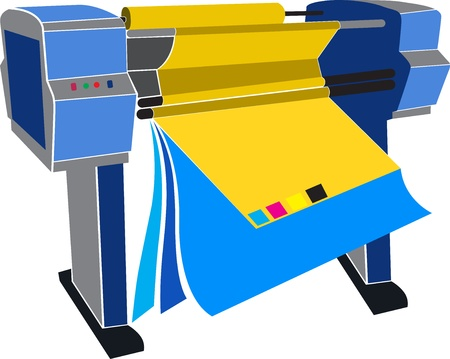 printer drawing: Illustration art of a printing mechine with isolated background